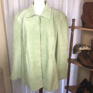 Green Suede Leather Jacket 3X Women's Coat Vtg